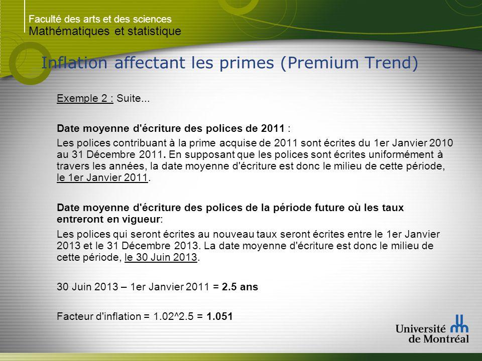 Faculté des arts et des sciences Mathématiques et statistique Inflation affectant les primes (Premium Trend) Exemple 2 : Suite... Date moyenne d'écrit