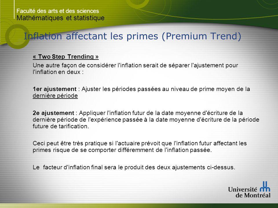Faculté des arts et des sciences Mathématiques et statistique Inflation affectant les primes (Premium Trend) « Two Step Trending » Une autre façon de