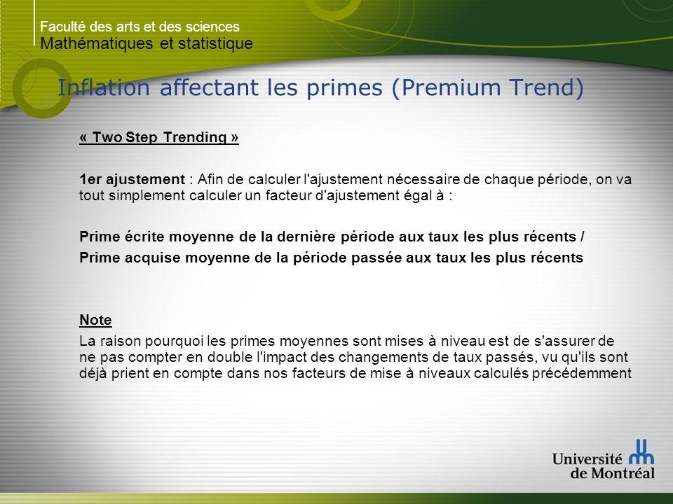 Faculté des arts et des sciences Mathématiques et statistique Inflation affectant les primes (Premium Trend) « Two Step Trending » 1er ajustement : Af