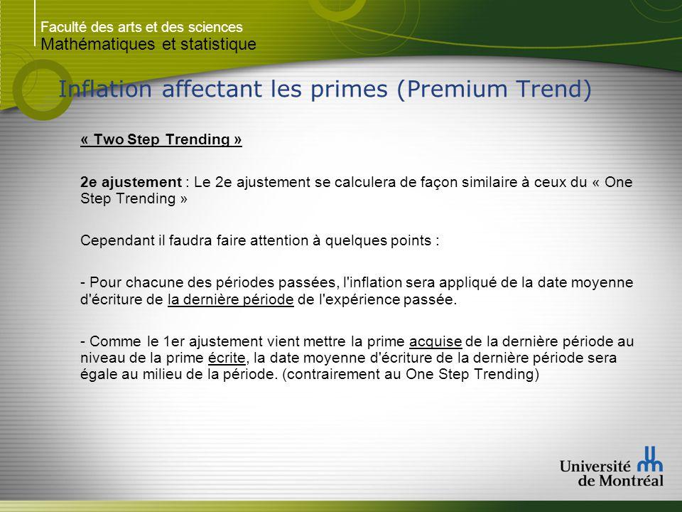 Faculté des arts et des sciences Mathématiques et statistique Inflation affectant les primes (Premium Trend) « Two Step Trending » 2e ajustement : Le