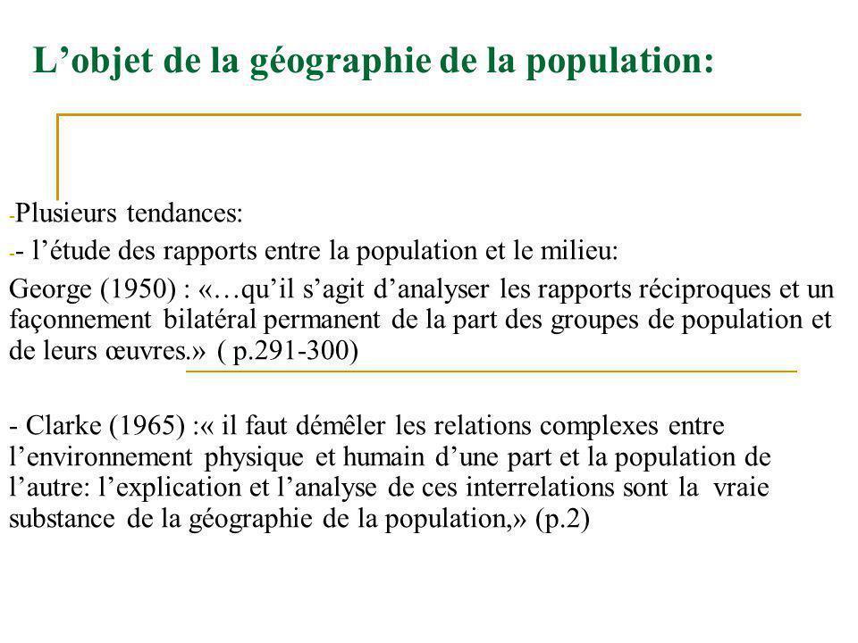 Lobjet de la géographie de la population: - Plusieurs tendances: - - létude des rapports entre la population et le milieu: George (1950) : «…quil sagi