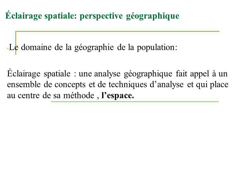 Éclairage spatiale: perspective géographique - Le domaine de la géographie de la population: Éclairage spatiale : une analyse géographique fait appel à un ensemble de concepts et de techniques danalyse et qui place au centre de sa méthode, lespace.