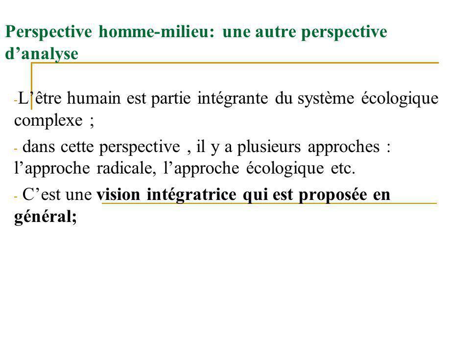 Perspective homme-milieu: une autre perspective danalyse - Lêtre humain est partie intégrante du système écologique complexe ; - dans cette perspective, il y a plusieurs approches : lapproche radicale, lapproche écologique etc.