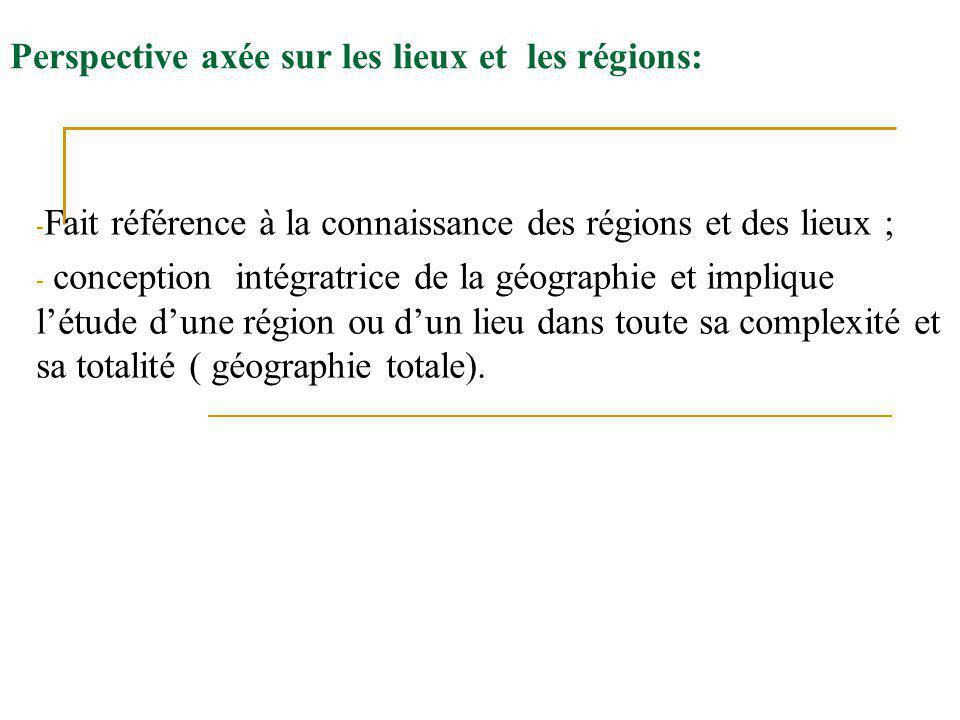 Perspective axée sur les lieux et les régions: - Fait référence à la connaissance des régions et des lieux ; - conception intégratrice de la géographi
