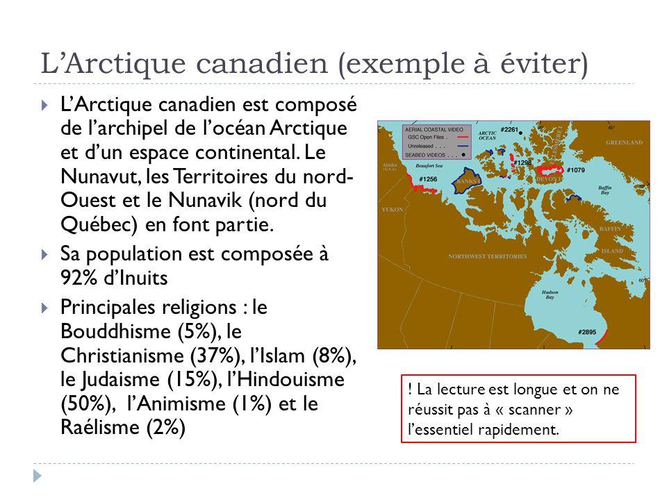 LArctique canadien (exemple à éviter) LArctique canadien est composé de larchipel de locéan Arctique et dun espace continental.