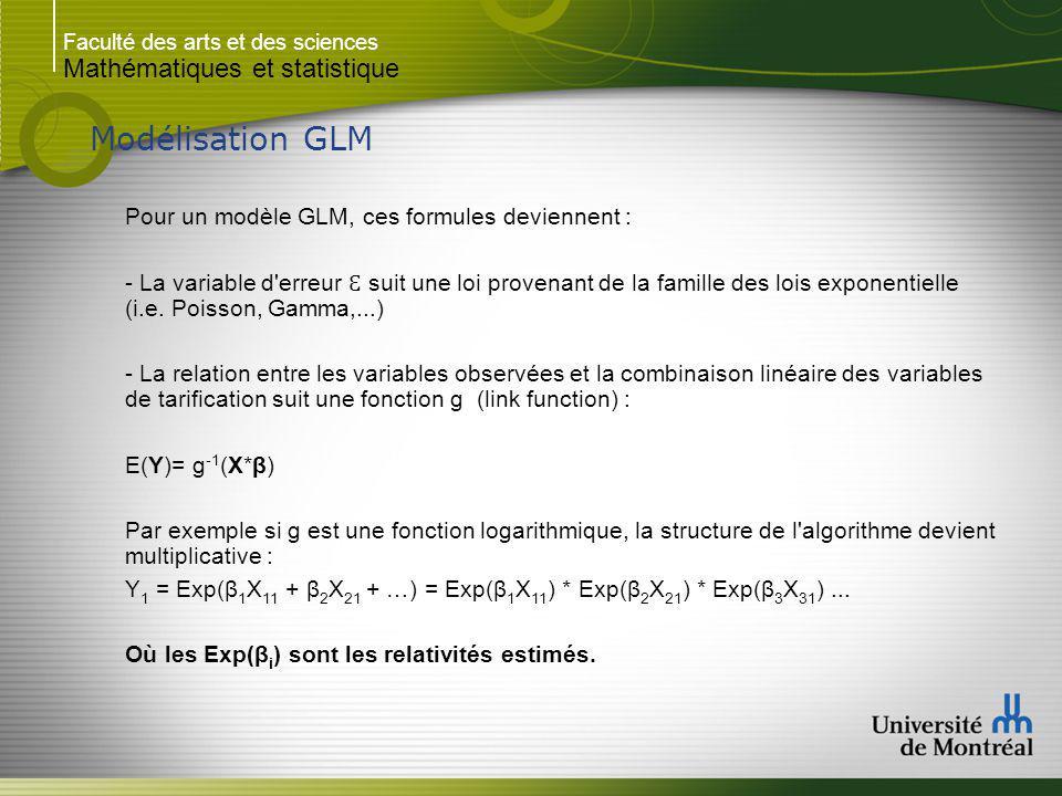 Faculté des arts et des sciences Mathématiques et statistique Modélisation GLM Pour un modèle GLM, ces formules deviennent : - La variable d erreur Ɛ suit une loi provenant de la famille des lois exponentielle (i.e.