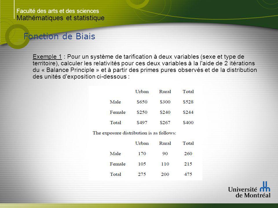 Faculté des arts et des sciences Mathématiques et statistique Fonction de Biais Exemple 1 : Solution : Soit les relativités suivantes : S1/S2 = Hommes / Femmes T1/T2 = Urbain / Rurale - Assumons un taux de base de 100 $.
