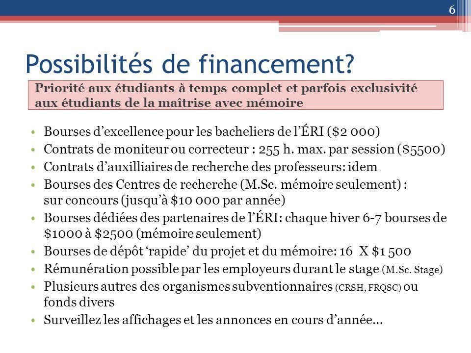 Possibilités de financement.