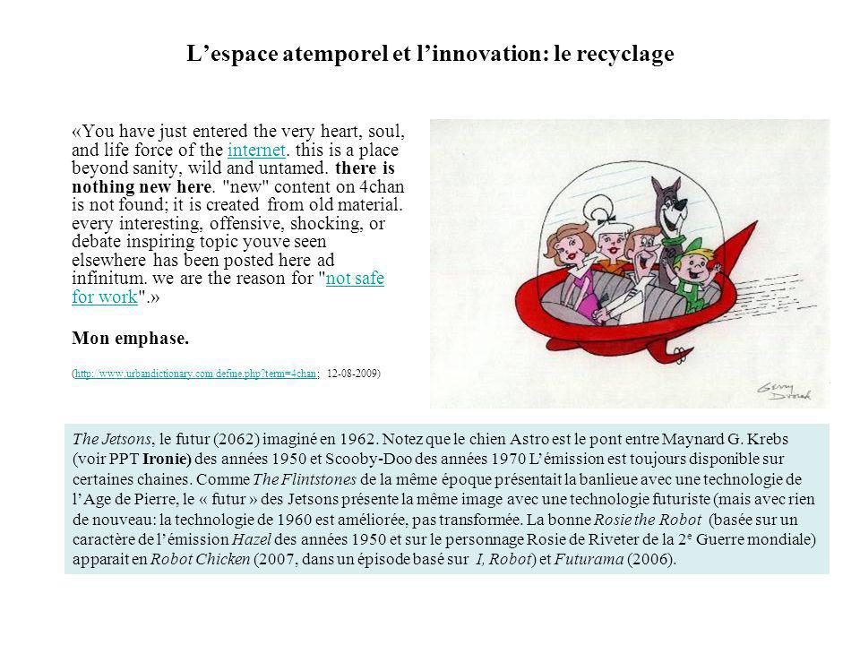 Lespace atemporel et linnovation: le recyclage «You have just entered the very heart, soul, and life force of the internet. this is a place beyond san
