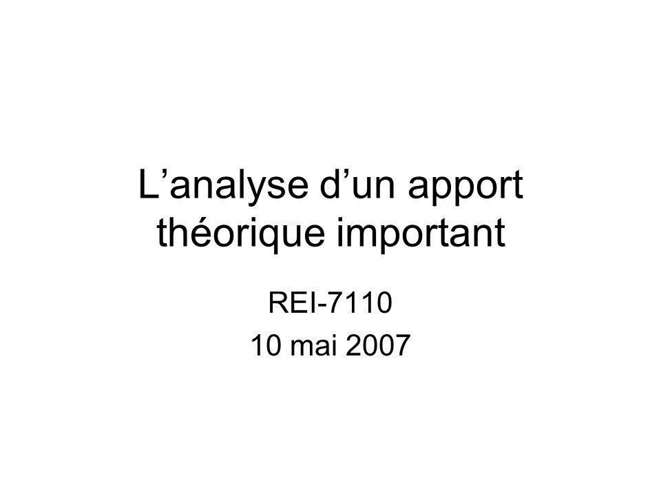 Lanalyse dun apport théorique important REI-7110 10 mai 2007