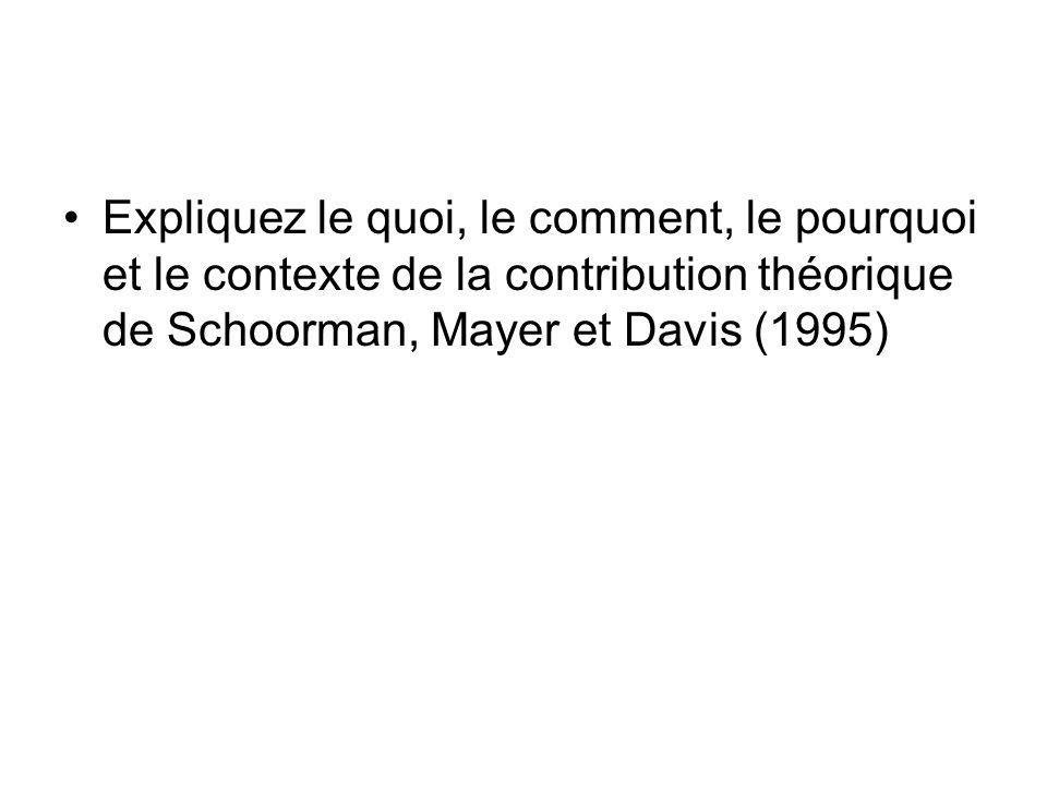 Expliquez le quoi, le comment, le pourquoi et le contexte de la contribution théorique de Schoorman, Mayer et Davis (1995)