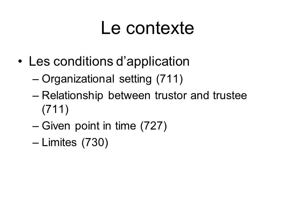 Le contexte Les conditions dapplication –Organizational setting (711) –Relationship between trustor and trustee (711) –Given point in time (727) –Limites (730)