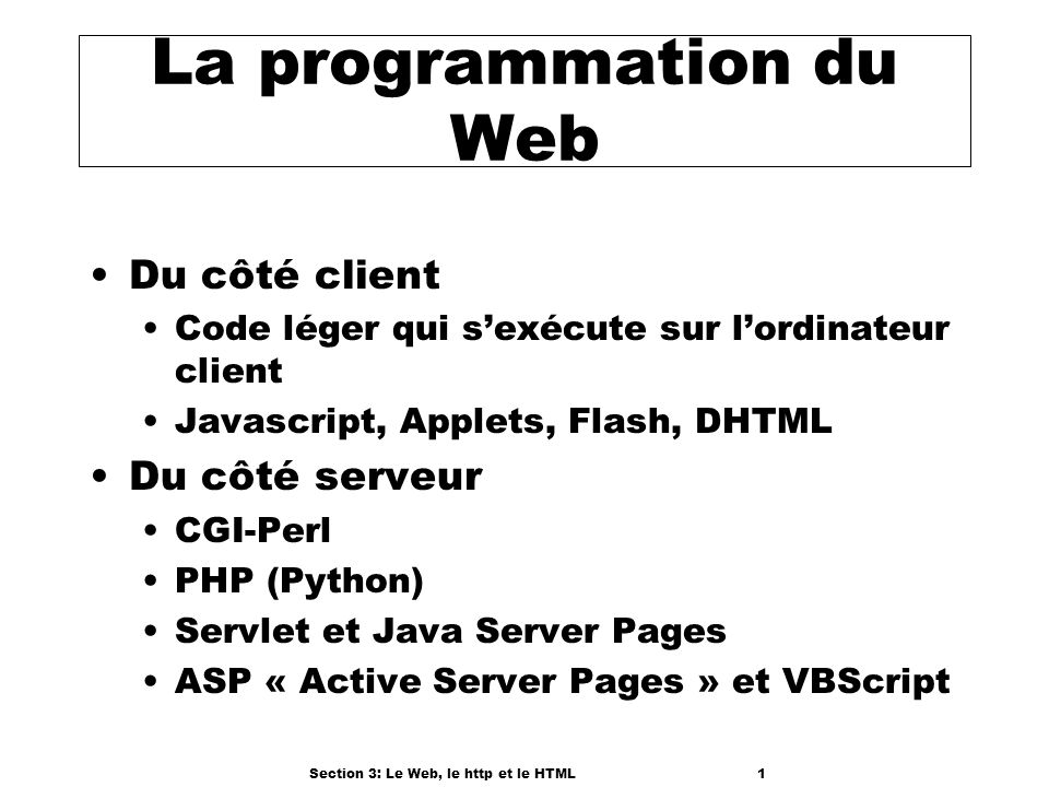 Section 3: Le Web, le http et le HTML1 La programmation du Web Du côté client Code léger qui sexécute sur lordinateur client Javascript, Applets, Flash, DHTML Du côté serveur CGI-Perl PHP (Python) Servlet et Java Server Pages ASP « Active Server Pages » et VBScript