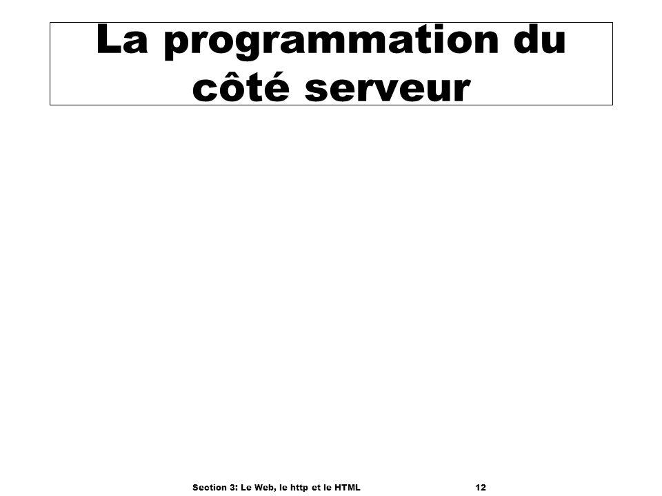 Section 3: Le Web, le http et le HTML12 La programmation du côté serveur