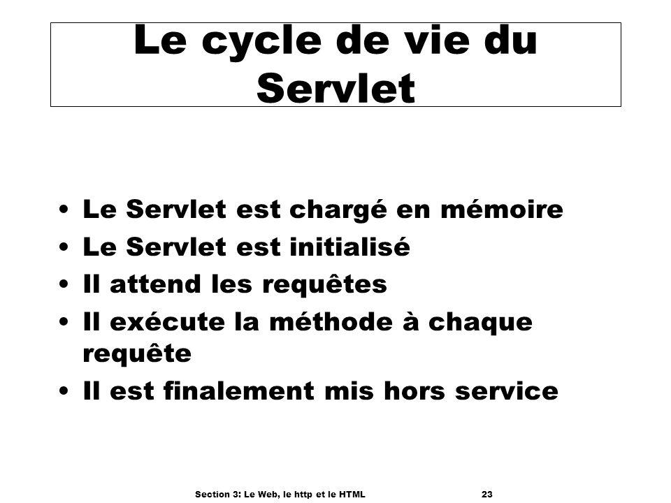 Section 3: Le Web, le http et le HTML23 Le cycle de vie du Servlet Le Servlet est chargé en mémoire Le Servlet est initialisé Il attend les requêtes Il exécute la méthode à chaque requête Il est finalement mis hors service