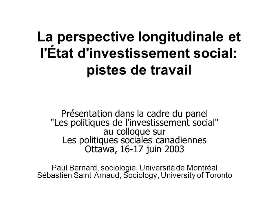 La perspective longitudinale et l'État d'investissement social: pistes de travail Présentation dans la cadre du panel
