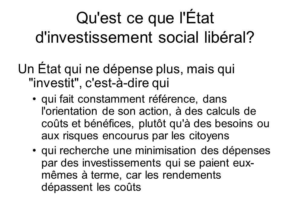 Qu'est ce que l'État d'investissement social libéral? Un État qui ne dépense plus, mais qui