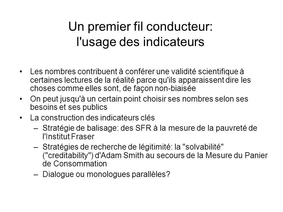 Un premier fil conducteur: l usage des indicateurs Les nombres contribuent à conférer une validité scientifique à certaines lectures de la réalité parce qu ils apparaissent dire les choses comme elles sont, de façon non-biaisée On peut jusqu à un certain point choisir ses nombres selon ses besoins et ses publics La construction des indicateurs clés –Stratégie de balisage: des SFR à la mesure de la pauvreté de l Institut Fraser –Stratégies de recherche de légitimité: la solvabilité ( creditability ) d Adam Smith au secours de la Mesure du Panier de Consommation –Dialogue ou monologues parallèles