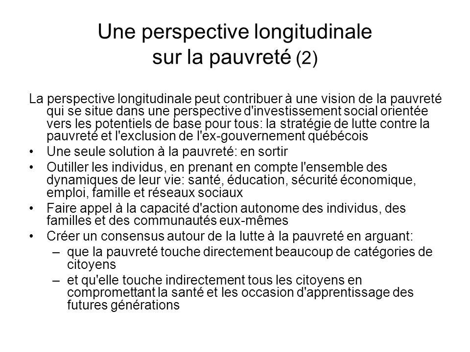 Une perspective longitudinale sur la pauvreté (2) La perspective longitudinale peut contribuer à une vision de la pauvreté qui se situe dans une persp