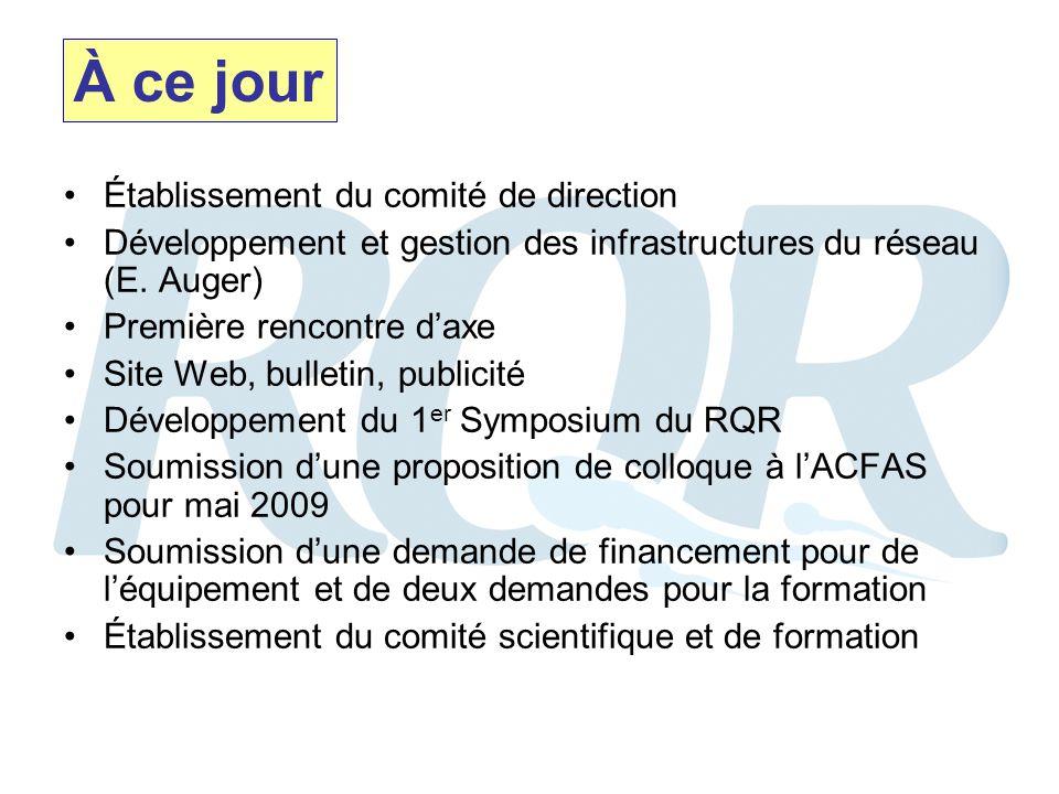 Établissement du comité de direction Développement et gestion des infrastructures du réseau (E.