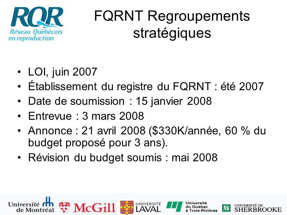 FQRNT Regroupements stratégiques LOI, juin 2007 Établissement du registre du FQRNT : été 2007 Date de soumission : 15 janvier 2008 Entrevue : 3 mars 2008 Annonce : 21 avril 2008 ($330K/année, 60 % du budget proposé pour 3 ans).