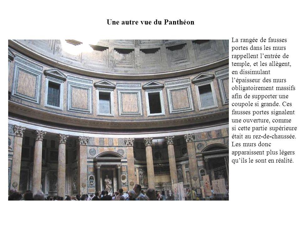 Une autre vue du Panthéon La rangée de fausses portes dans les murs rappellent lentrée de temple, et les allègent, en dissimulant lépaisseur des murs