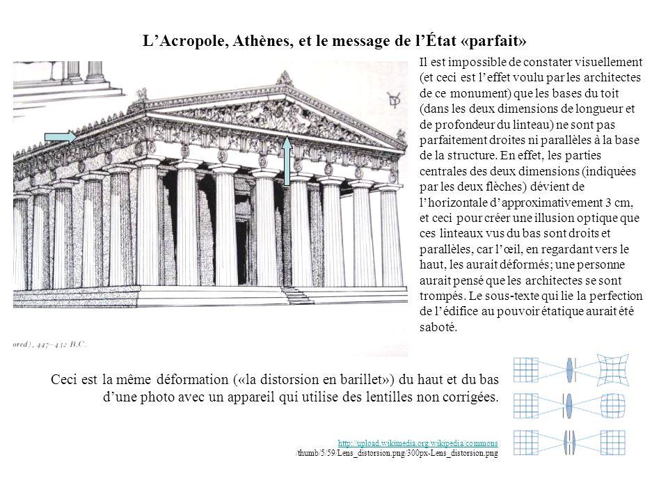 LAcropole, Athènes, et le message de lÉtat «parfait» Il est impossible de constater visuellement (et ceci est leffet voulu par les architectes de ce m