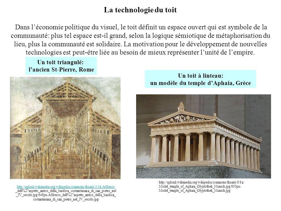 La technologie du toit Dans léconomie politique du visuel, le toit définit un espace ouvert qui est symbole de la communauté: plus tel espace est-il g