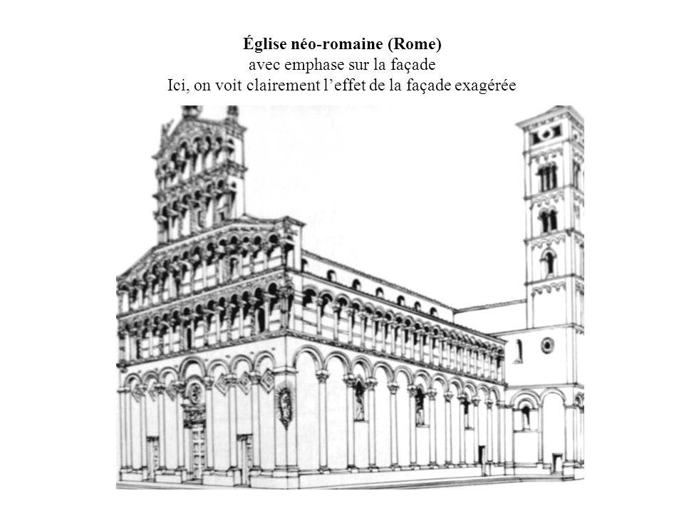 Église néo-romaine (Rome) avec emphase sur la façade Ici, on voit clairement leffet de la façade exagérée