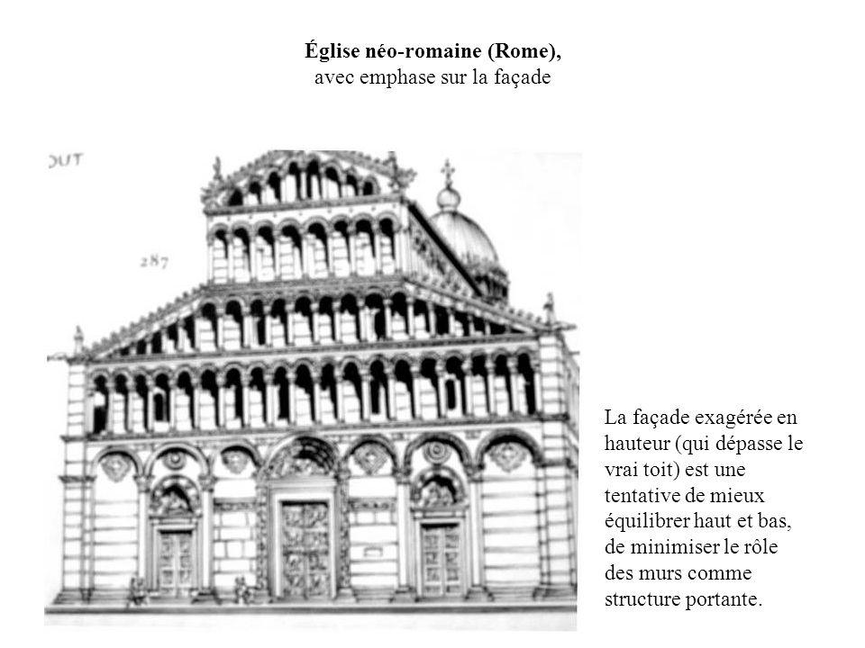 Église néo-romaine (Rome), avec emphase sur la façade La façade exagérée en hauteur (qui dépasse le vrai toit) est une tentative de mieux équilibrer h