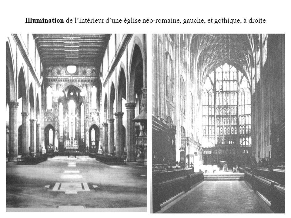 Illumination de lintérieur dune église néo-romaine, gauche, et gothique, à droite
