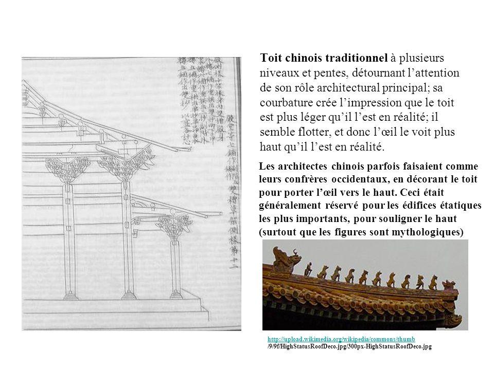 Toit chinois traditionnel à plusieurs niveaux et pentes, détournant lattention de son rôle architectural principal; sa courbature crée limpression que