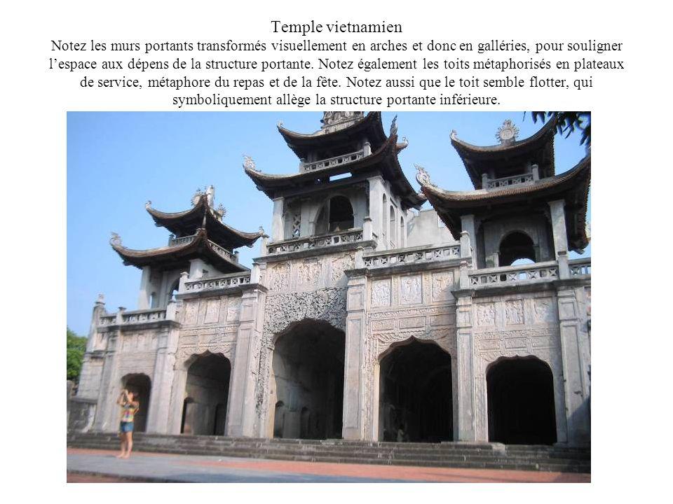 Temple vietnamien Notez les murs portants transformés visuellement en arches et donc en galléries, pour souligner lespace aux dépens de la structure p