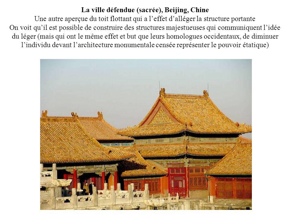 La ville défendue (sacrée), Beijing, Chine Une autre aperçue du toit flottant qui a leffet dalléger la structure portante On voit quil est possible de