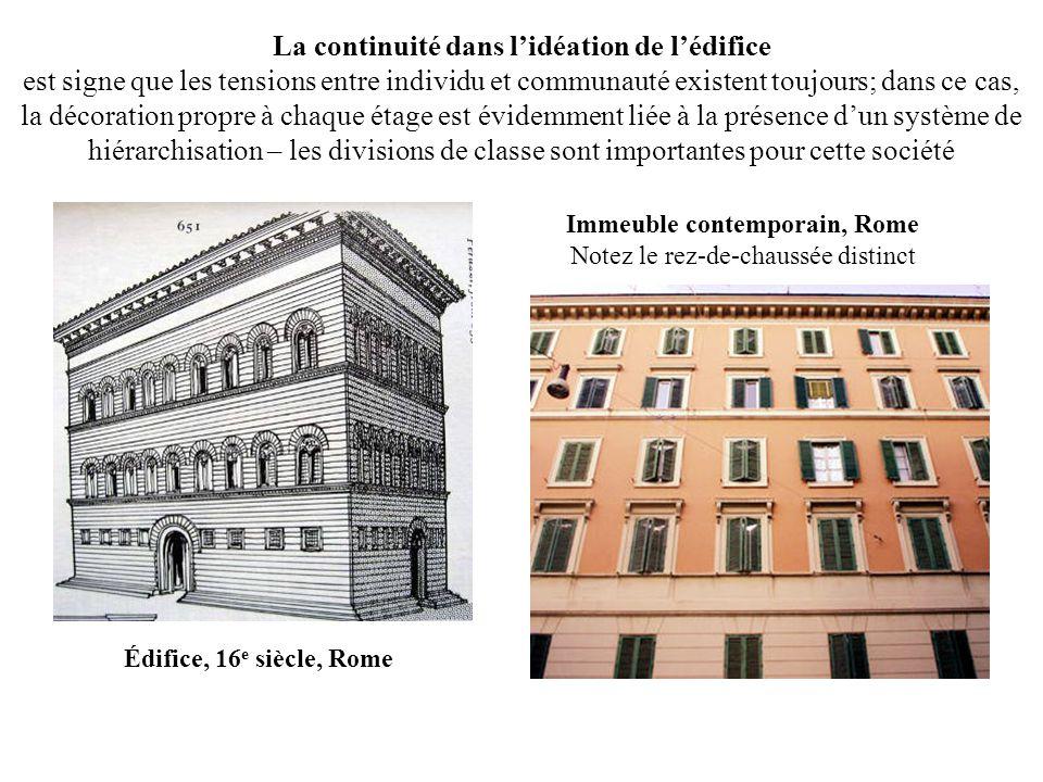 Édifice, 16 e siècle, Rome Immeuble contemporain, Rome Notez le rez-de-chaussée distinct La continuité dans lidéation de lédifice est signe que les te