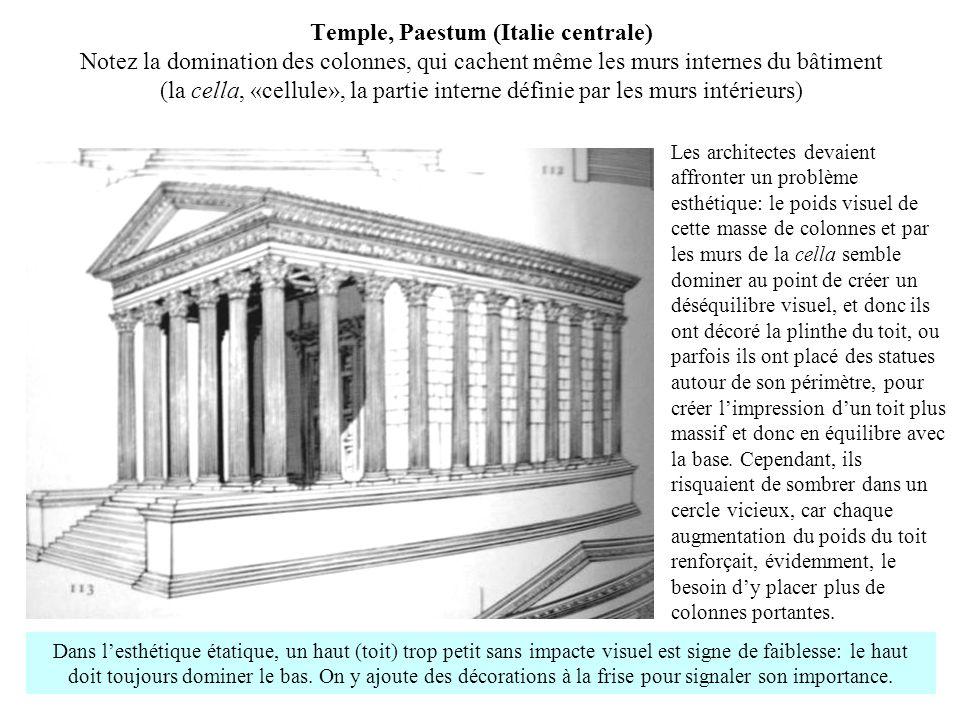 Temple, Paestum (Italie centrale) Notez la domination des colonnes, qui cachent même les murs internes du bâtiment (la cella, «cellule», la partie int