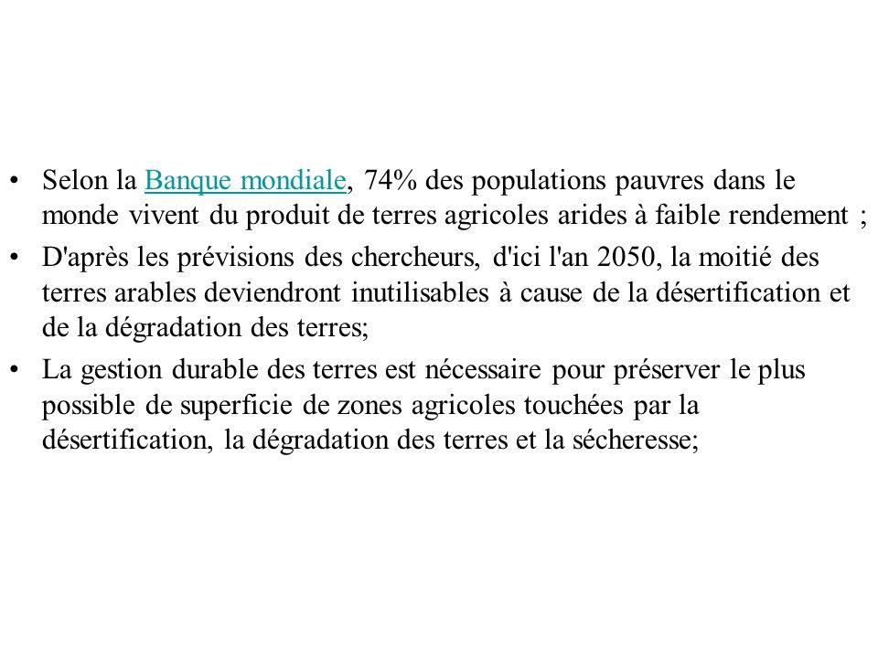 Selon la Banque mondiale, 74% des populations pauvres dans le monde vivent du produit de terres agricoles arides à faible rendement ;Banque mondiale D