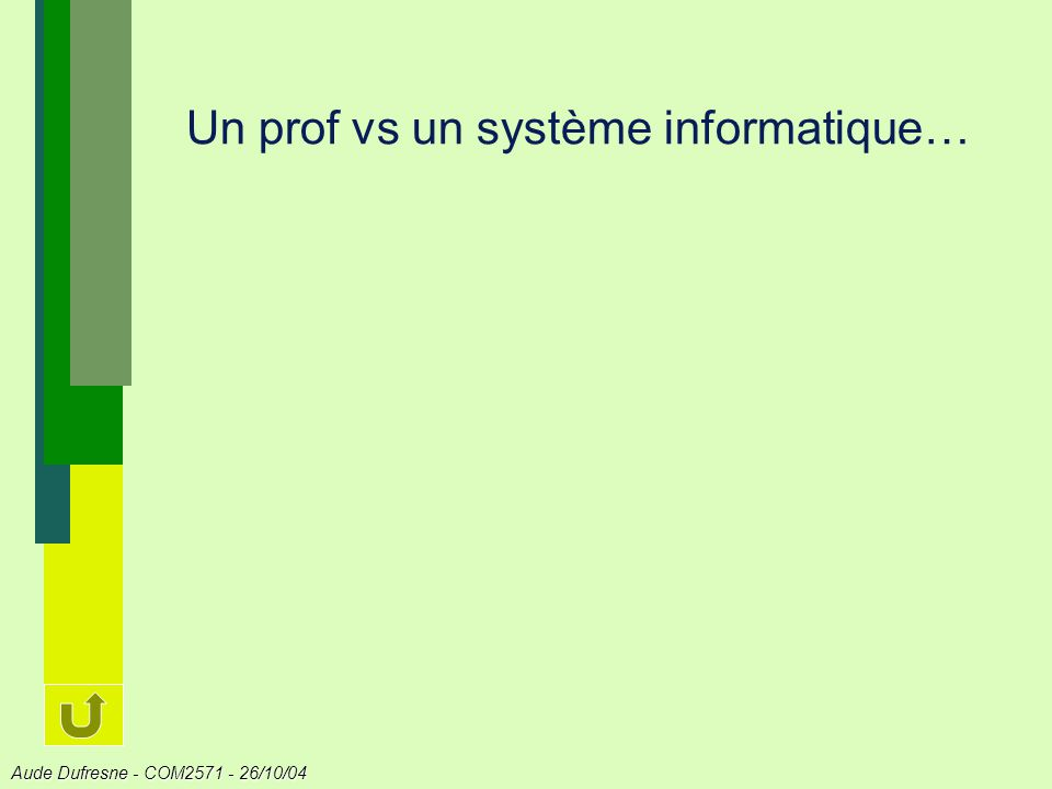 Aude Dufresne - COM2571 - 26/10/04 Apprendre, cest … Assimilation: Répéter une solution connue dans toutes les situations où elle sapplique.