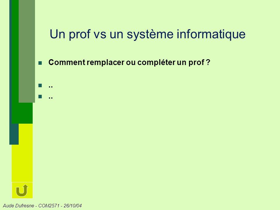 Aude Dufresne - COM2571 - 26/10/04 Un prof vs un système informatique Comment remplacer ou compléter un prof ?..