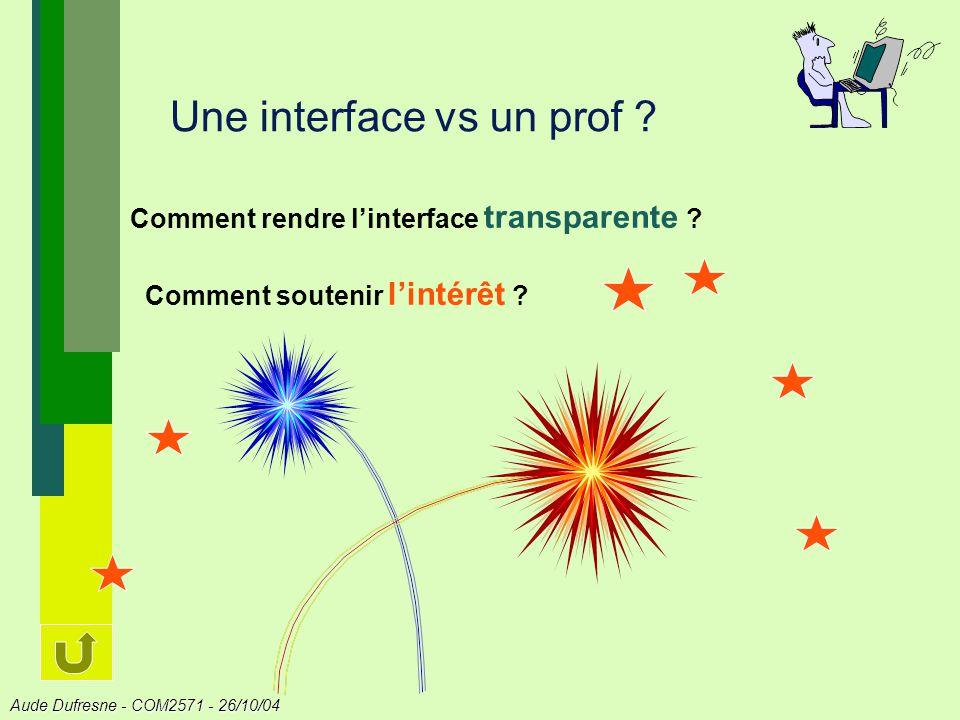 Aude Dufresne - COM2571 - 26/10/04 Une interface vs un prof .