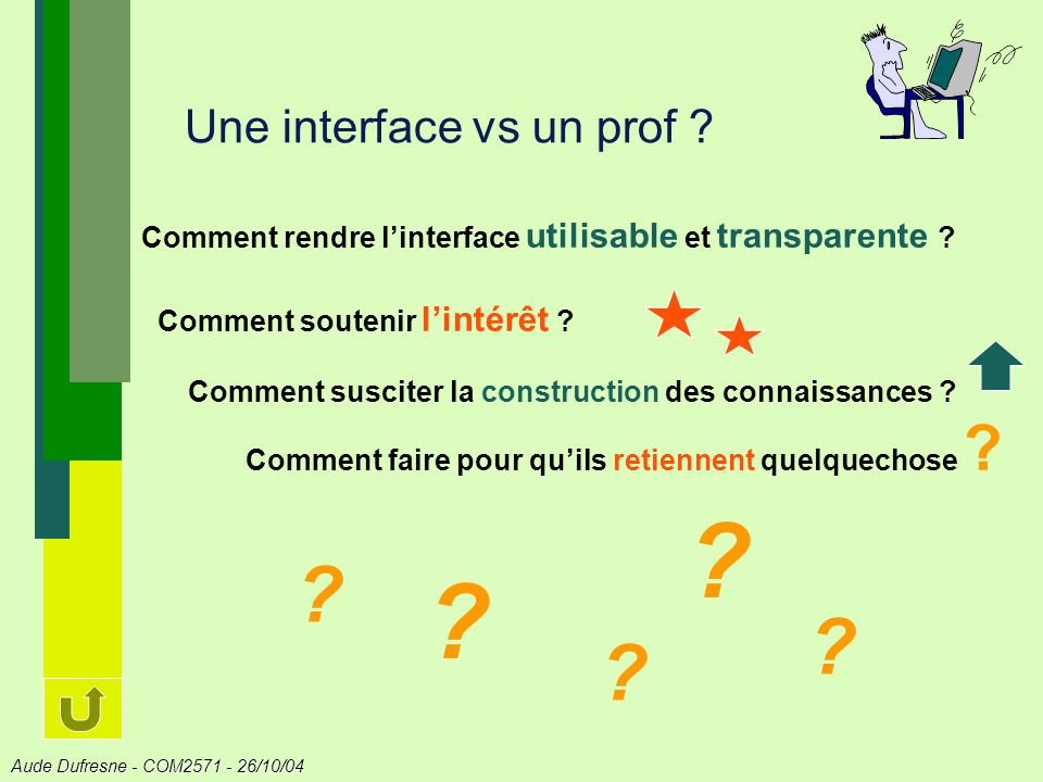 Aude Dufresne - COM2571 - 26/10/04 Une interface vs un prof ? Comment rendre linterface utilisable et transparente ? Comment soutenir lintérêt ? Comme