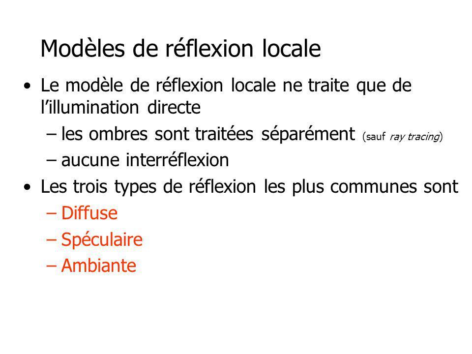 Le modèle de réflexion locale ne traite que de lillumination directe –les ombres sont traitées séparément (sauf ray tracing) –aucune interréflexion Les trois types de réflexion les plus communes sont –Diffuse –Spéculaire –Ambiante