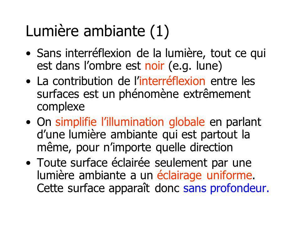 Lumière ambiante (1) Sans interréflexion de la lumière, tout ce qui est dans lombre est noir (e.g.