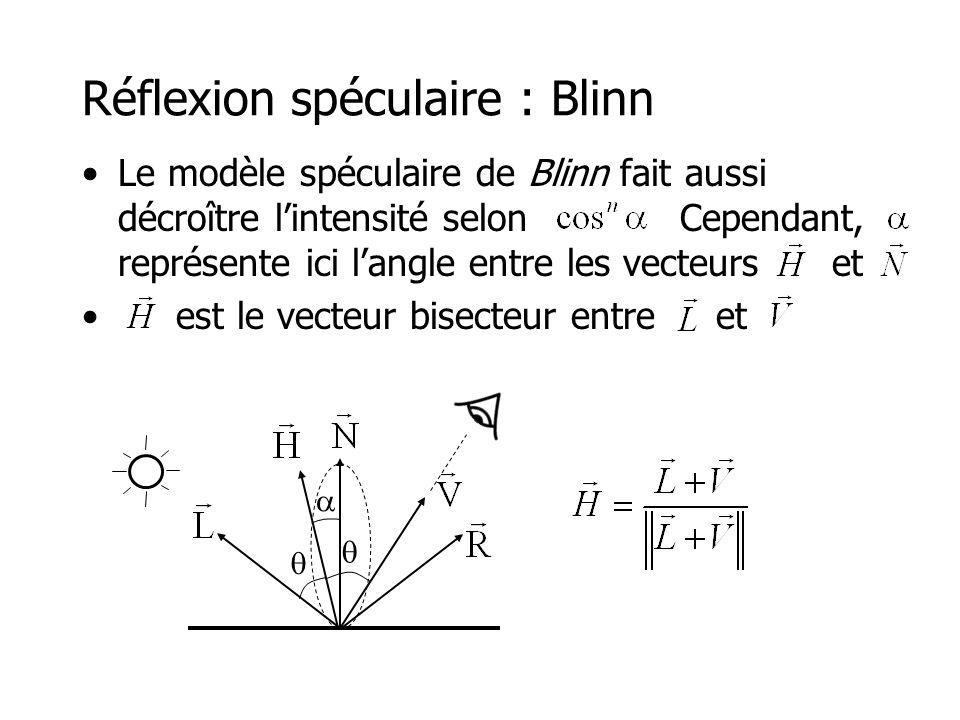 Réflexion spéculaire : Blinn Le modèle spéculaire de Blinn fait aussi décroître lintensité selon Cependant, représente ici langle entre les vecteurs et est le vecteur bisecteur entre et