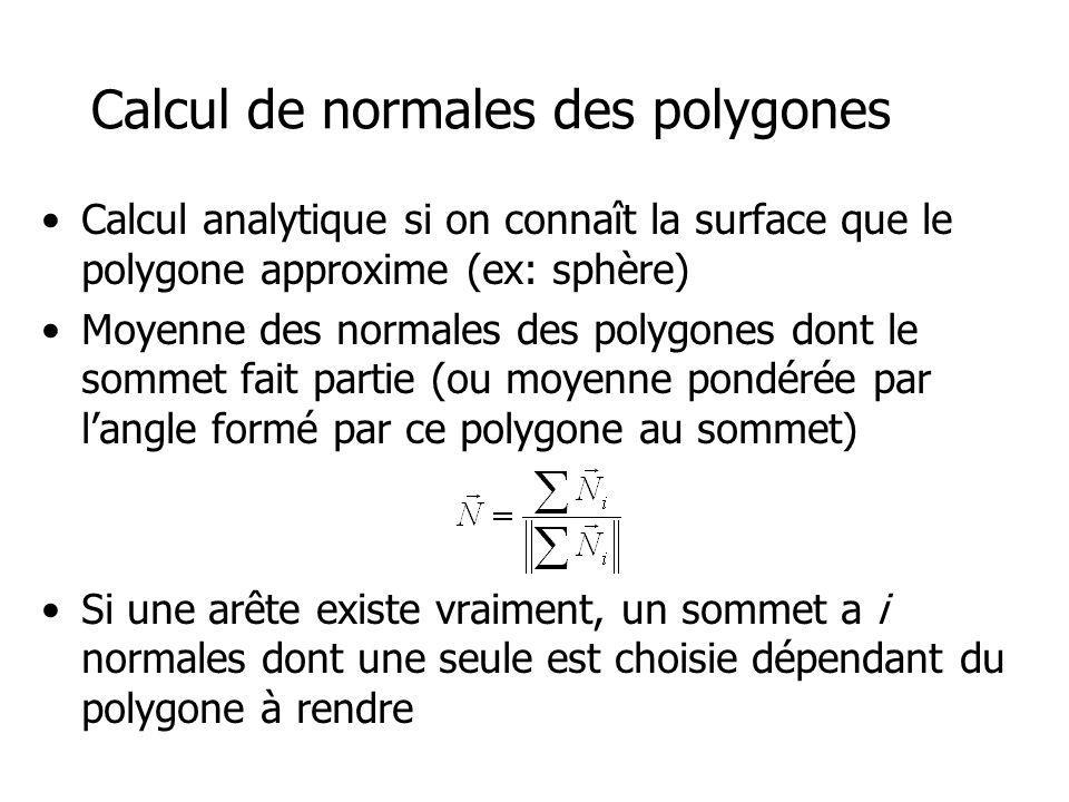 Calcul de normales des polygones Calcul analytique si on connaît la surface que le polygone approxime (ex: sphère) Moyenne des normales des polygones dont le sommet fait partie (ou moyenne pondérée par langle formé par ce polygone au sommet) Si une arête existe vraiment, un sommet a i normales dont une seule est choisie dépendant du polygone à rendre