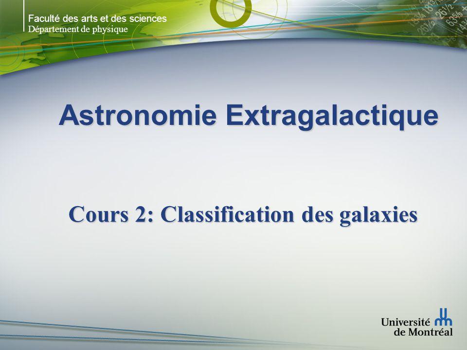 Faculté des arts et des sciences Département de physique Astronomie Extragalactique Cours 2: Classification des galaxies