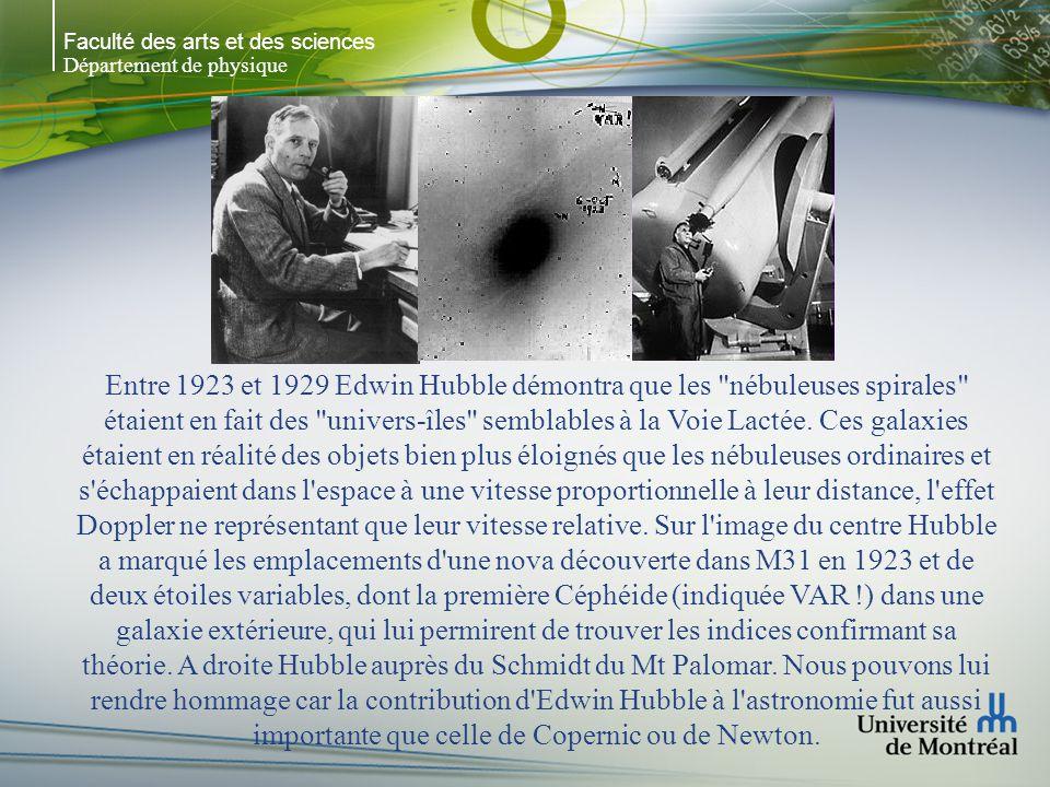 Faculté des arts et des sciences Département de physique Entre 1923 et 1929 Edwin Hubble démontra que les nébuleuses spirales étaient en fait des univers-îles semblables à la Voie Lactée.