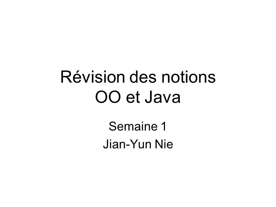 Révision des notions OO et Java Semaine 1 Jian-Yun Nie
