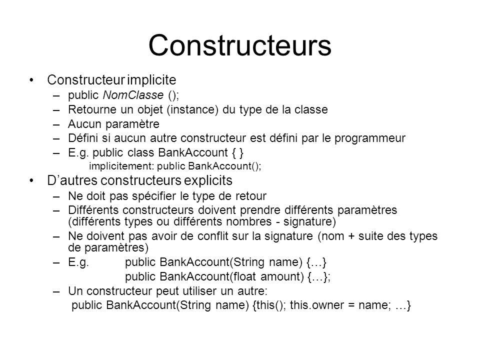 Constructeurs Constructeur implicite –public NomClasse (); –Retourne un objet (instance) du type de la classe –Aucun paramètre –Défini si aucun autre