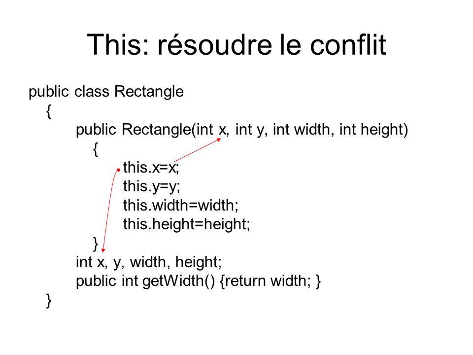 This: résoudre le conflit public class Rectangle { public Rectangle(int x, int y, int width, int height) { this.x=x; this.y=y; this.width=width; this.height=height; } int x, y, width, height; public int getWidth() {return width; } }